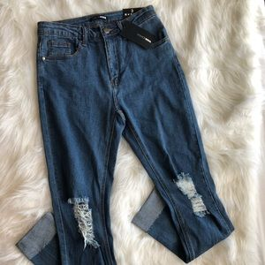 Fashion Nova Blue Mid Rise Ripped Jeans, Size 3
